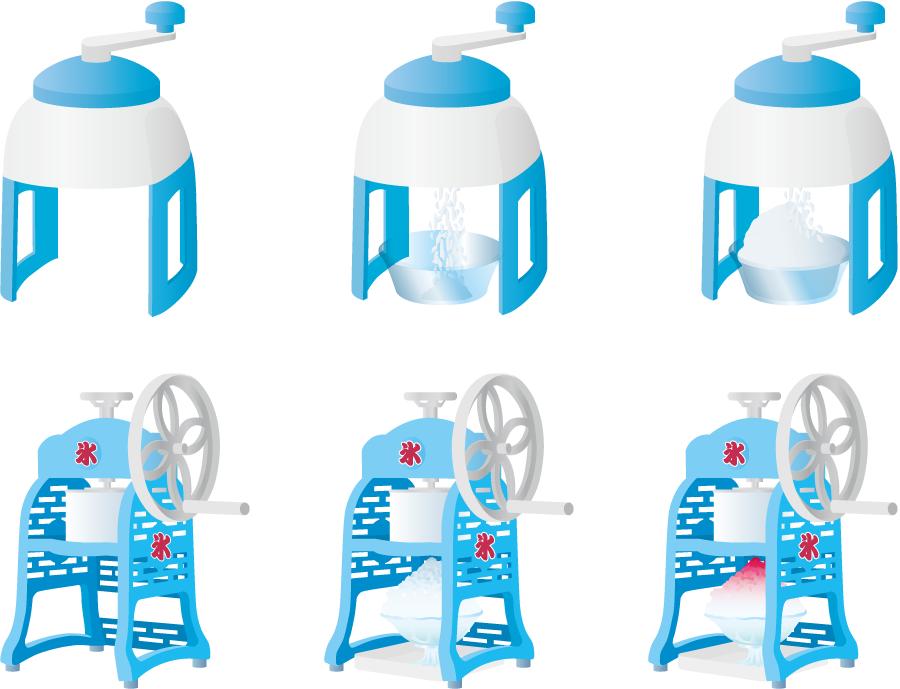フリーイラスト 6種類のかき氷器のセット