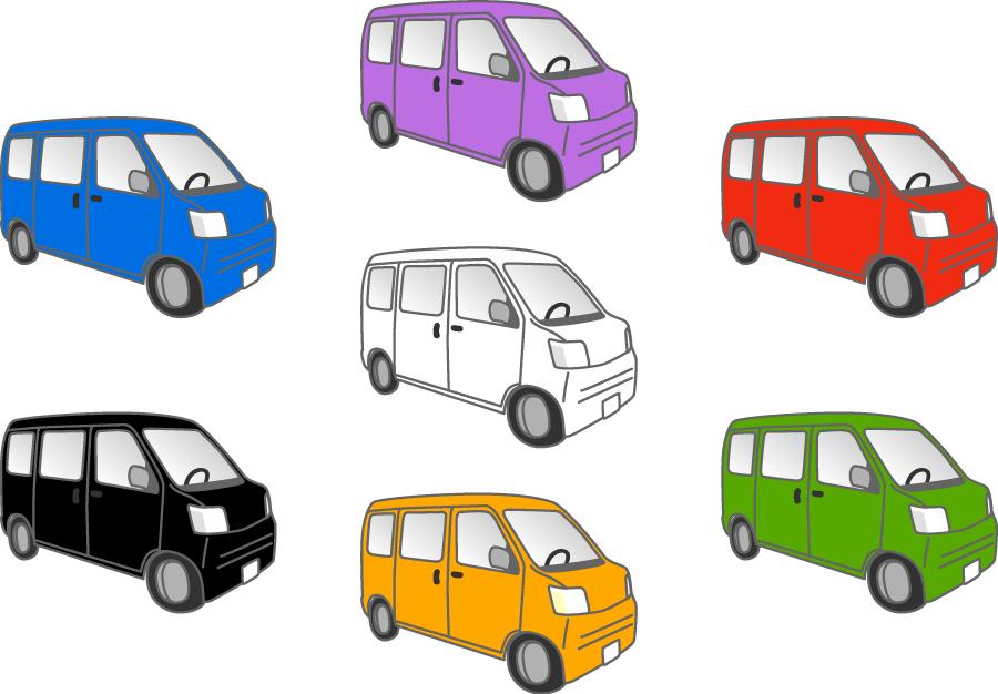 フリーイラスト 7種類の軽ワゴンのセット