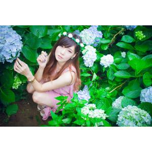 フリー写真, 人物, 女性, アジア人女性, DUDU(00216), 中国人, 人と花, 花, 花畑, 紫陽花(アジサイ), 花冠, しゃがむ