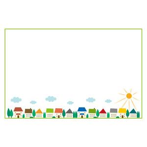 フリーイラスト, ベクター画像, EPS, 背景, フレーム, 囲みフレーム, 街(町), 街並み(町並み), 晴れ, 太陽