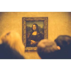 フリー写真, 絵画, 博物館(美術館), 額縁, 後ろ姿, 眺める, レオナルド・ダ・ヴィンチ