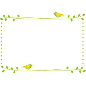 フリーイラスト, ベクター画像, EPS, 背景, フレーム, 囲みフレーム, 植物, 鳥(トリ), 小鳥