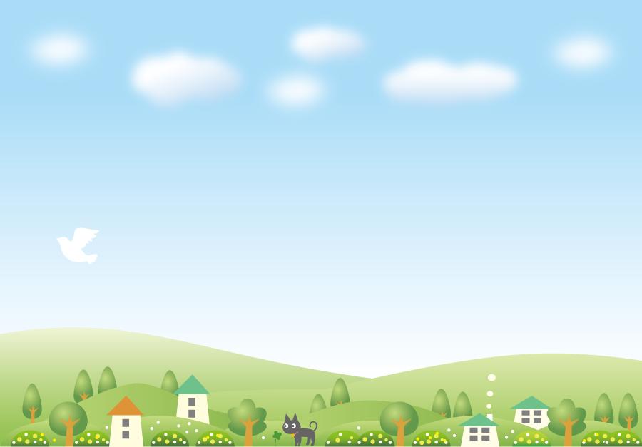 フリーイラスト 黒猫と青空と田舎の風景