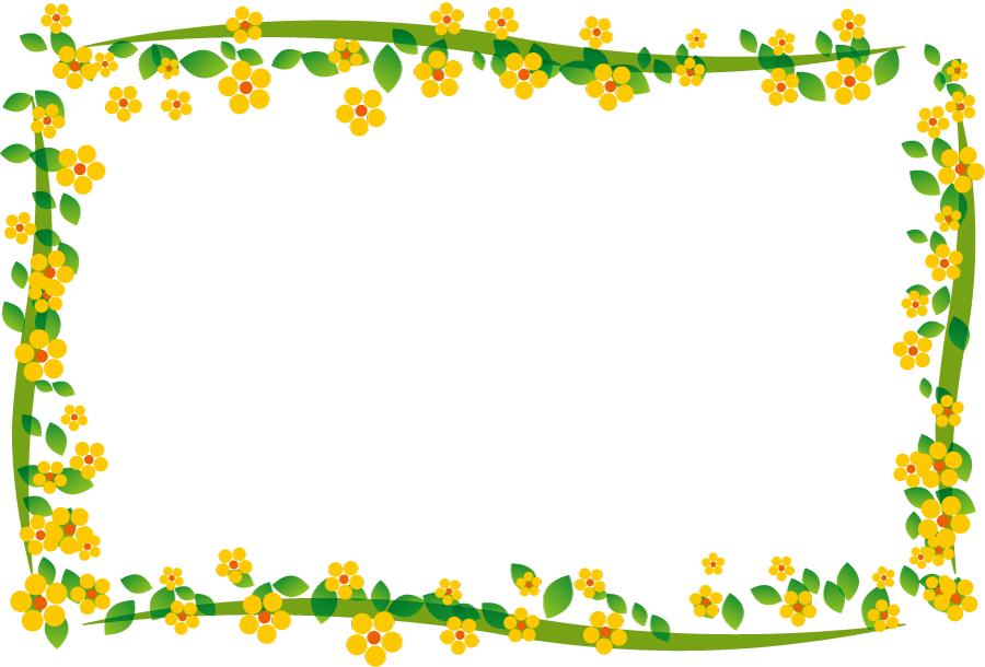 フリーイラスト 黄色の花の囲みフレーム