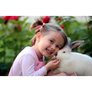 フリー写真, 人物, 子供, 女の子, 外国の女の子, ルーマニア人, 女の子(00218), 人と動物, 動物, 哺乳類, 兎(ウサギ)