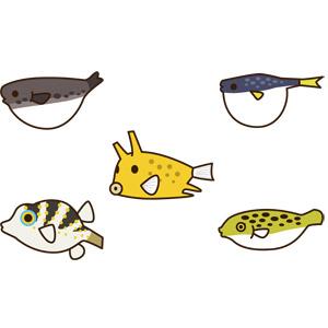 フリーイラスト, ベクター画像, AI, 動物, 魚類, 魚(サカナ), 河豚(フグ), 食べ物(食料), 魚介類