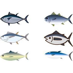フリーイラスト, ベクター画像, AI, 動物, 魚類, 魚(サカナ), 鮪(マグロ), 食べ物(食料), 魚介類