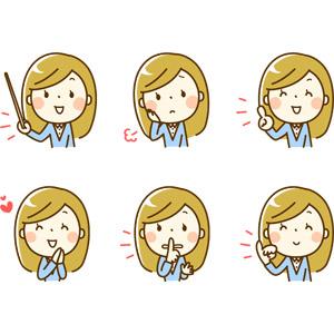 フリーイラスト, 人物, 女性, 女性(00219), 指し棒, 教える, 憂鬱, 頬に手を当てる, 指差す, アドバイス, 説明する, 恋する, しーっ(静かに), 秘密(内緒), 指切り, 約束, 困る
