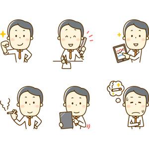 フリーイラスト, 人物, 男性, 男性(00220), 仕事, 職業, サラリーマン, ビジネスマン, ビジネス, ガッツポーズ, やる気, 通話, 固定電話, タブレットPC, データ, プレゼンテーション, 禁煙, 書く, 我慢
