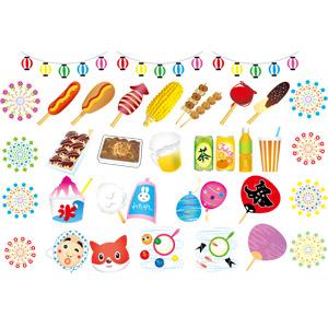 フリーイラスト, ベクター画像, AI, お祭り, 縁日, 食べ物(食料), 飲み物(飲料), フランクフルト, アメリカンドッグ, いか焼き, とうもろこし(トウモロコシ), 焼き鳥(やきとり), りんご飴, チョコバナナ, たこ焼き(たこやき), 焼きそば(やきそば), 金魚すくい, 綿菓子, かき氷, お面