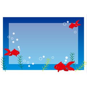 フリーイラスト, ベクター画像, EPS, 背景, フレーム, 囲みフレーム, 動物, 魚類, 魚(サカナ), 金魚(キンギョ), 夏, 水中