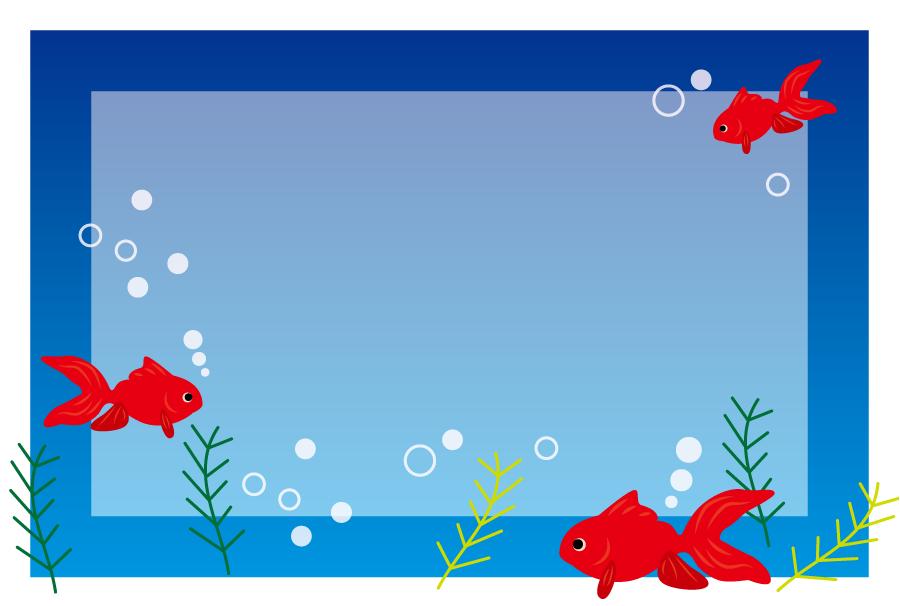 フリーイラスト 水中の金魚のフレーム