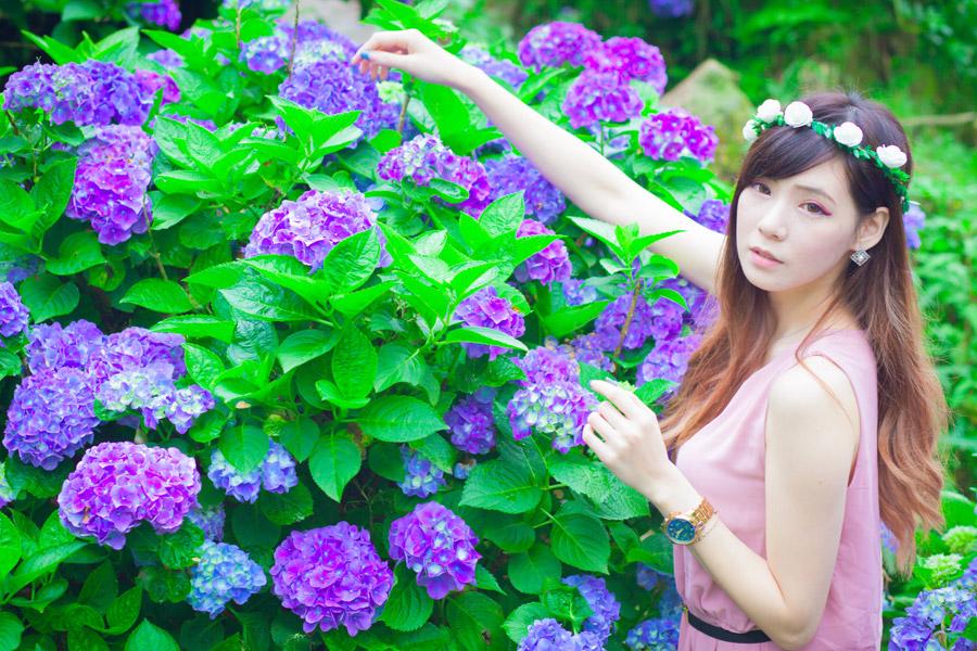 フリー写真 紫陽花に手を伸ばす女性