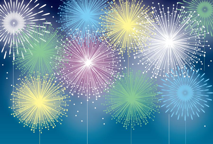 フリーイラスト カラフルな打ち上げ花火の背景