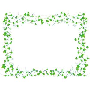 フリーイラスト, ベクター画像, AI, 背景, フレーム, 囲みフレーム, 植物, 蔦(ツタ), 葉っぱ