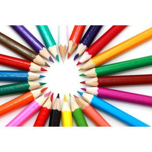 フリー写真, 背景, 画材, 色鉛筆, カラフル, 放射線状