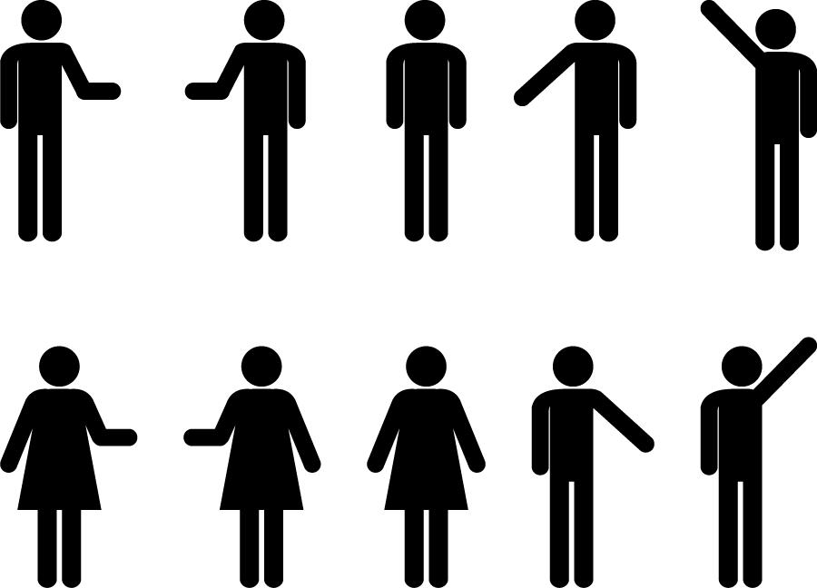 フリーイラスト 10種類の男女のピクトグラムのセット