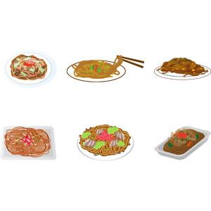 フリーイラスト, ベクター画像, AI, 食べ物(食料), 料理, 麺類, 焼きそば(やきそば), 縁日