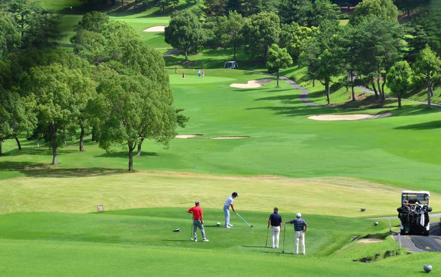フリー写真 ゴルフ場でゴルフを楽しむ人々