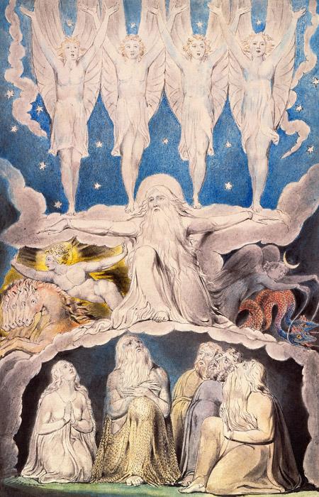 フリー絵画 ウィリアム・ブレイク作「夜明けの星が相共に歌う時」