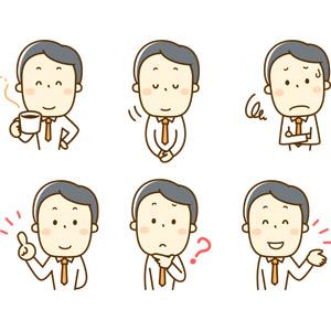 フリーイラスト, 人物, 男性, 男性(00220), 仕事, 職業, サラリーマン, ビジネスマン, ビジネス, コーヒー(珈琲), 休憩, お辞儀, 挨拶, 困る, 指差す, アドバイス, 説明する, 分からない, 案内する, 腕を組む