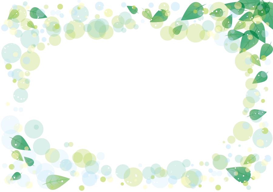フリーイラスト 新緑の葉と水玉の飾り枠