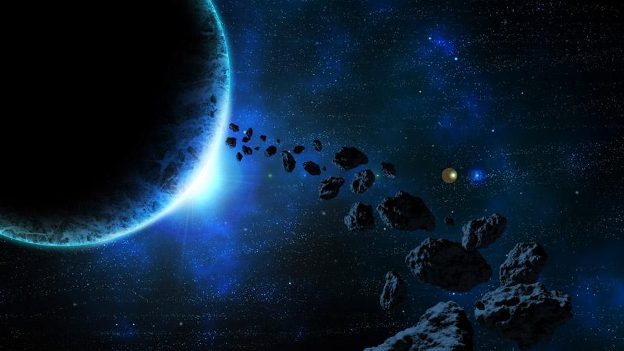 フリーイラスト 宇宙に浮かぶ惑星と隕石群