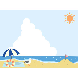 フリーイラスト, ベクター画像, AI, 風景, 海, ビーチ(砂浜), 夏, ビーチパラソル, 浮き輪, 鴎(カモメ), ビーチフラッグ