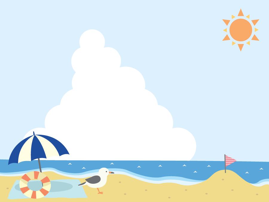 フリーイラスト カモメのいる夏のビーチの風景