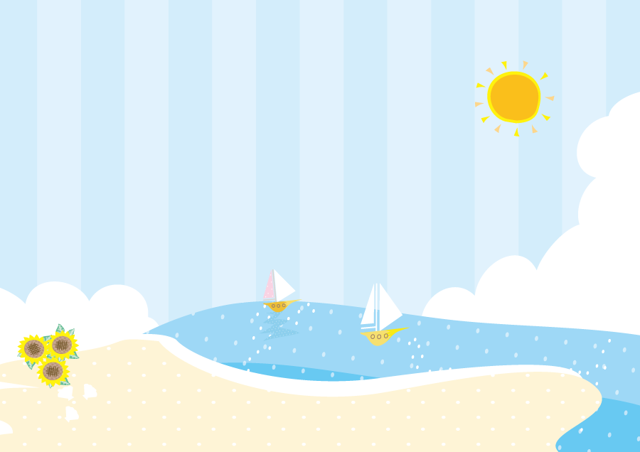 フリーイラスト ヨットが浮かぶ夏の海と砂浜の風景