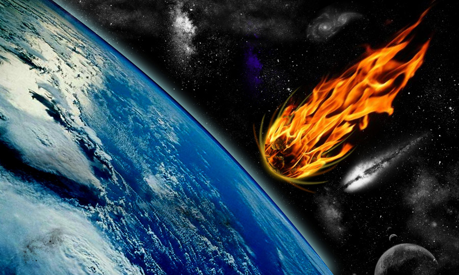フリー写真 地球に落下する彗星