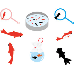 フリーイラスト, ベクター画像, AI, ゲーム, 縁日, 金魚すくい, 動物, 魚類, 魚(サカナ), 金魚(キンギョ), 夏, デメキン