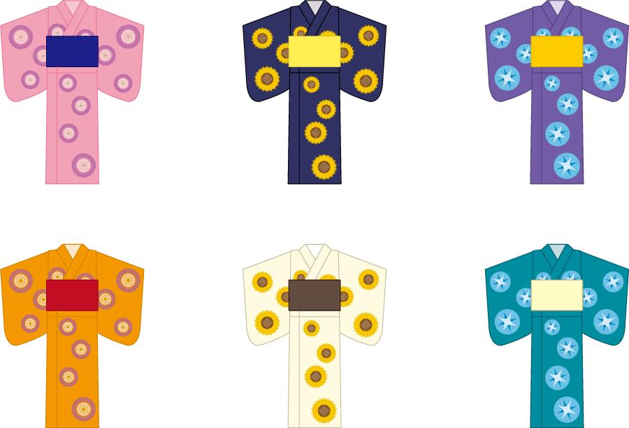 フリーイラスト 6種類の女性用浴衣のセット