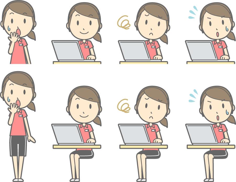 フリーイラスト パソコンを利用するなどの8種類の女性インストラクターのセット