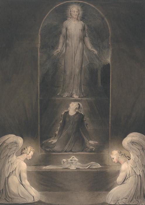 フリー絵画 ウィリアム・ブレイク作「イエスのお墓でのマグダラのマリア」
