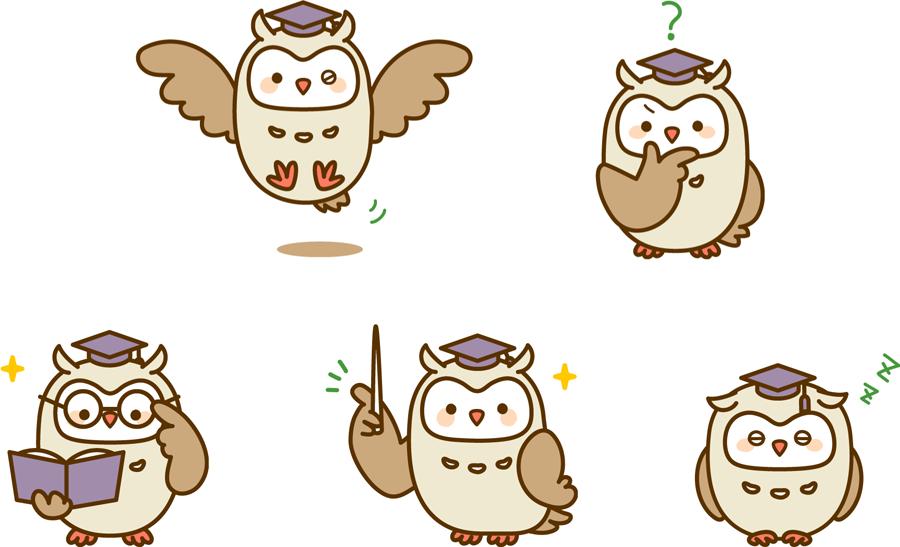 フリーイラスト 5種類のフクロウの先生のセット