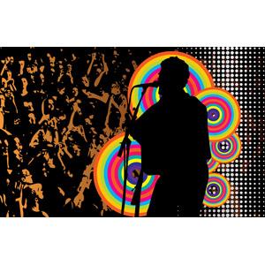 フリーイラスト, ベクター画像, EPS, 背景, 音楽, 観客, コンサート(ライブ), 歌う, 歌手, シルエット(人物)