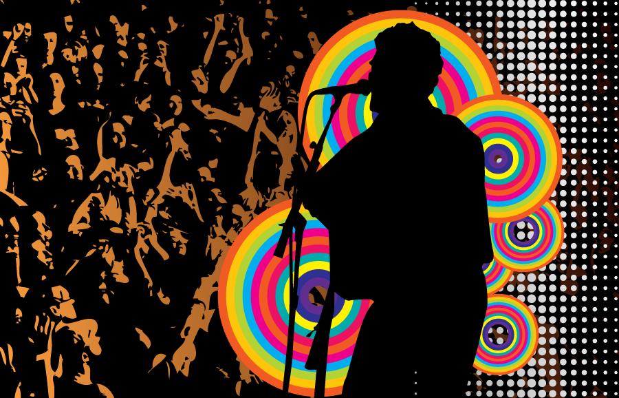 フリーイラスト 歌手とライブの背景