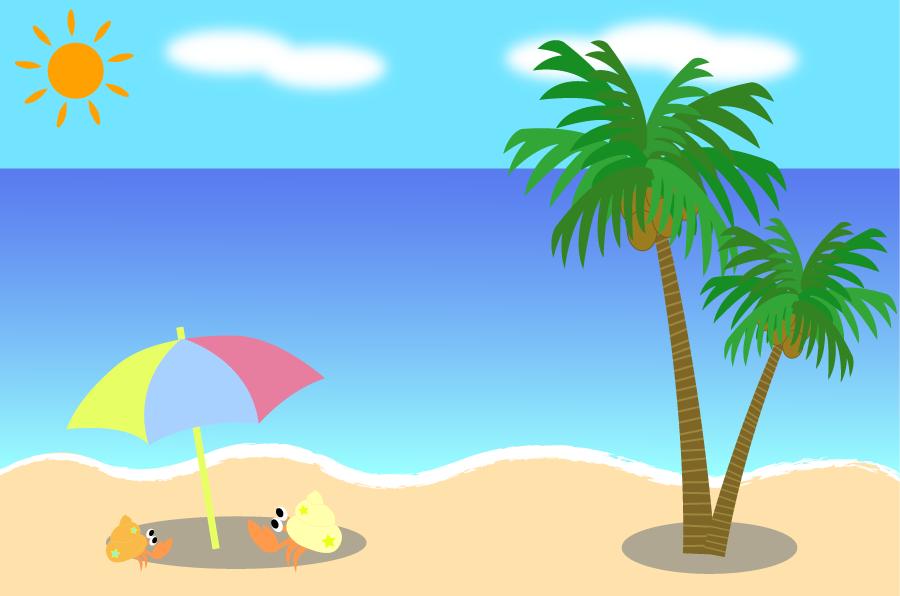 フリーイラスト ヤドカリとヤシの木と夏の海