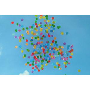 フリー写真, 風景, 空, 青空, 風船, カラフル