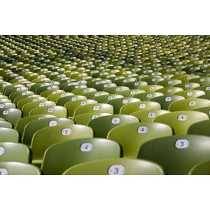 フリー写真, 風景, 観客席, 椅子(イス), ミュンヘン・オリンピアシュタディオン, 陸上競技場, ドイツの風景, ミュンヘン, バイエルン州, 緑色(グリーン)