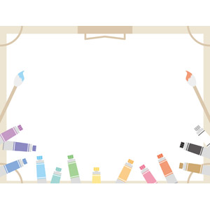 フリーイラスト, ベクター画像, EPS, 背景, フレーム, 囲みフレーム, 画材, 画板, 画用紙, 絵筆(画筆), 絵の具