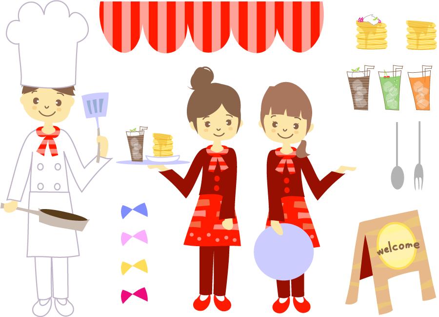フリーイラスト コックやウェイトレスなどの飲食店関連のセット
