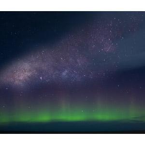 フリー写真, 風景, 自然, 夜, 夜空, オーロラ, 星(スター), 天の川