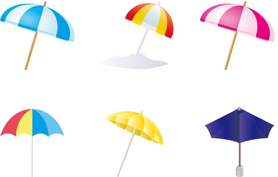 フリーイラスト 6種類のビーチパラソルのセット