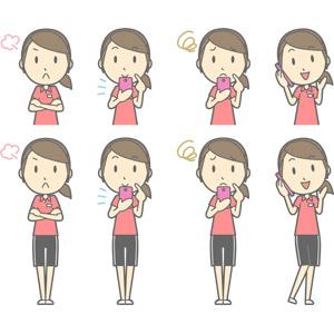 フリーイラスト, ベクター画像, AI, 人物, 女性, 女性(00217), 仕事, 職業, インストラクター, スポーツトレーナー, フィットネスクラブ, トレーニングジム, 腕を組む, 怒る, スマートフォン(スマホ), 携帯電話, 通話, 困る