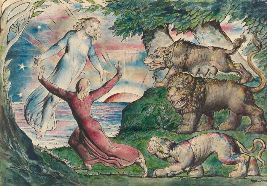 フリー絵画 ウィリアム・ブレイク作「三匹の獣から逃げるダンテ」
