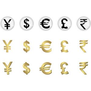 フリーイラスト, ベクター画像, AI, 通貨, シンボル, お金, 日本円, アメリカドル, ユーロ, ポンド, ルピー