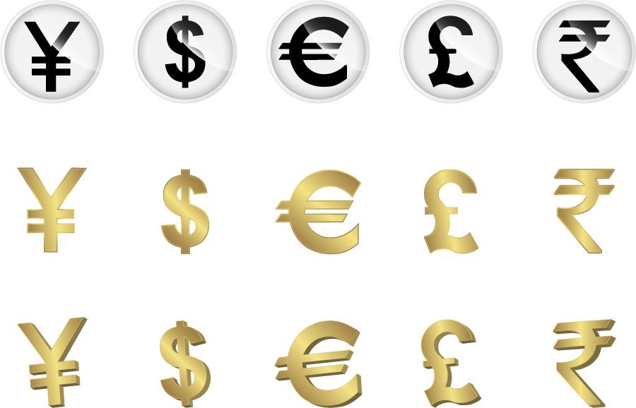 フリーイラスト 通貨のシンボルのセット