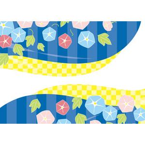 フリーイラスト, ベクター画像, AI, 背景, 花柄, 朝顔(アサガオ), 市松模様, 夏